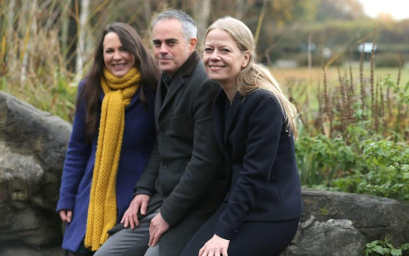 Deputy leader Amelia Womack and Green Party Co-Leaders Jonathan Bartley and Sian Berry launch of the Green Party manifesto - PA