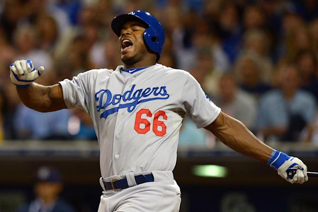 Struggling Yasiel Puig sits as Dodgers give rookie Joc Pederson the start