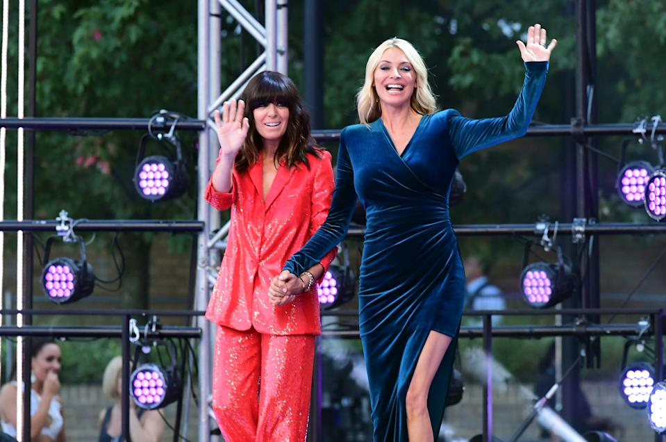 Claudia Winkleman (left) and Tess Daley arriving at the red carpet launch of Strictly Come Dancing 2019, held at BBC TV Centre in London, UK. (Photo by Ian West/PA Images via Getty Images)