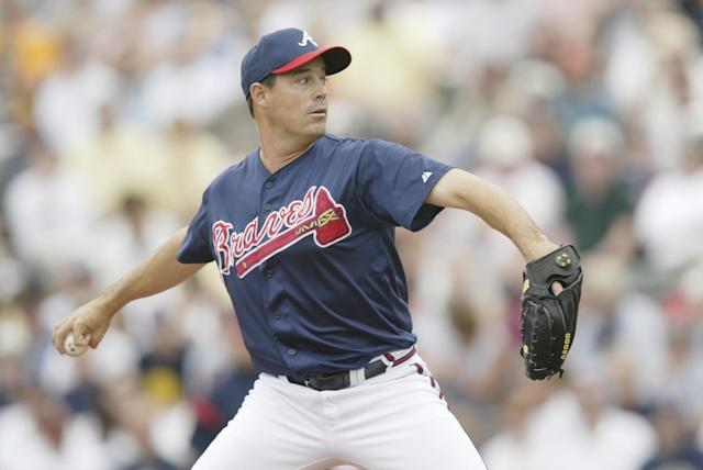 "Greg Maddux won the NL Cy Young award during his first three seasons with the <a class=""link rapid-noclick-resp"" href=""/mlb/teams/atlanta/"" data-ylk=""slk:Atlanta Braves"">Atlanta Braves</a>. (Andy Lyons/Getty Images)"