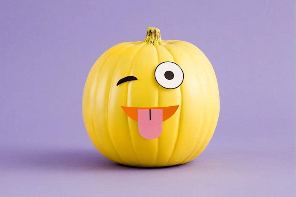 """<p>The possibilities are endless with this super clever no-carve option. You can easily assemble a new expression as many times as you want throughout the season! </p><p><strong>Get the tutorial at <a href=""""https://www.brit.co/diy-emoji-pumpkins/?crlt.pid=camp.coWsYj5GAE7F"""" rel=""""nofollow noopener"""" target=""""_blank"""" data-ylk=""""slk:Brit + Co"""" class=""""link rapid-noclick-resp"""">Brit + Co</a>.</strong><br><br><a class=""""link rapid-noclick-resp"""" href=""""https://www.amazon.com/Krylon-K09142000-COVERMAXX-Spray-Yellow/dp/B013LT57DQ?th=1&tag=syn-yahoo-20&ascsubtag=%5Bartid%7C10050.g.22133548%5Bsrc%7Cyahoo-us"""" rel=""""nofollow noopener"""" target=""""_blank"""" data-ylk=""""slk:SHOP SPRAY PAINT"""">SHOP SPRAY PAINT</a></p>"""