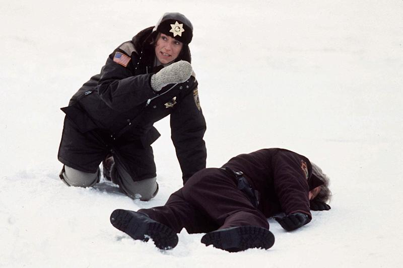 """FILE - In this 1996 file publicity photo originally released by Gramercy Pictures, actress Frances McDormand, left, is shown in this scene from the movie """"Fargo."""" When the movie debuted in 1996, many residents in the North Dakota city were not fans of the film's dark humor, not to mention the heavy accents. But the fame and cash from the movie eventually brought many Fargo residents around. Now, 16 years later, Fargo awaits the debut of a new cable television show by the same name. And many residents are less apprehensive about how their hometown will be portrayed this time around. (AP Photo/Gramercy Pictures, File) NO SALES"""