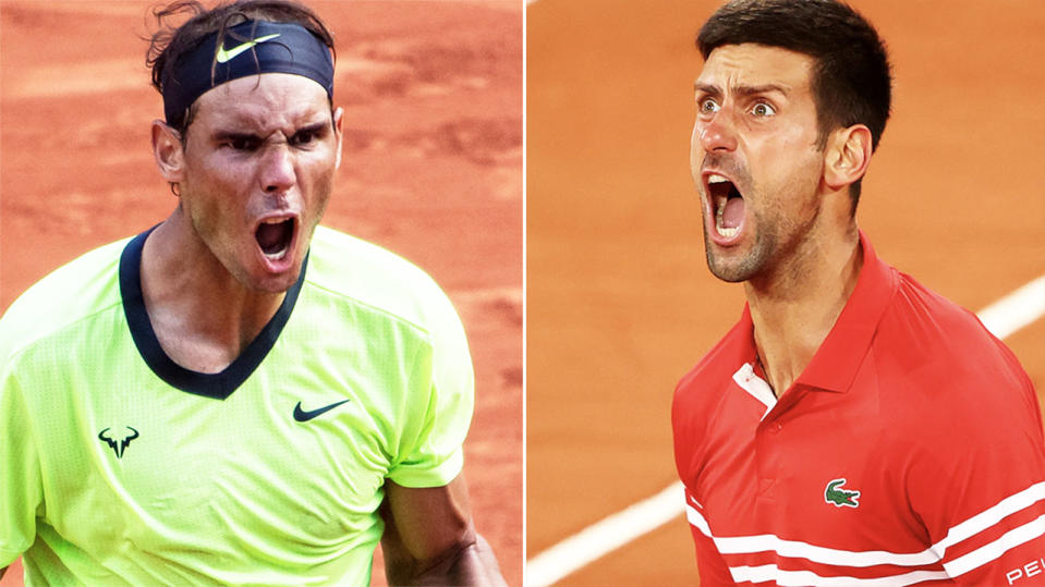 Rafael Nadal and Novak Djokovic will meet in the French Open semi-finals. Image: Getty