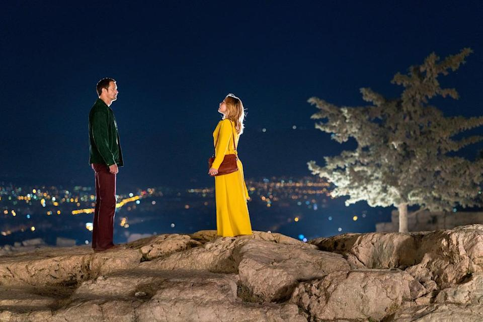 "Charlie and her ""Action Man"" take in the view over Athens (Picture: BBC)"