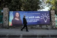 A billboard of The Prosperity Party of Prime Minister Abiy Ahmed