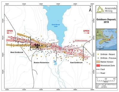 Exhibit A. A map of the Goldboro Deposit showing mineralized zones, 375 metre extension and new drilling included in the current Mineral Resource. (CNW Group/Anaconda Mining Inc.)