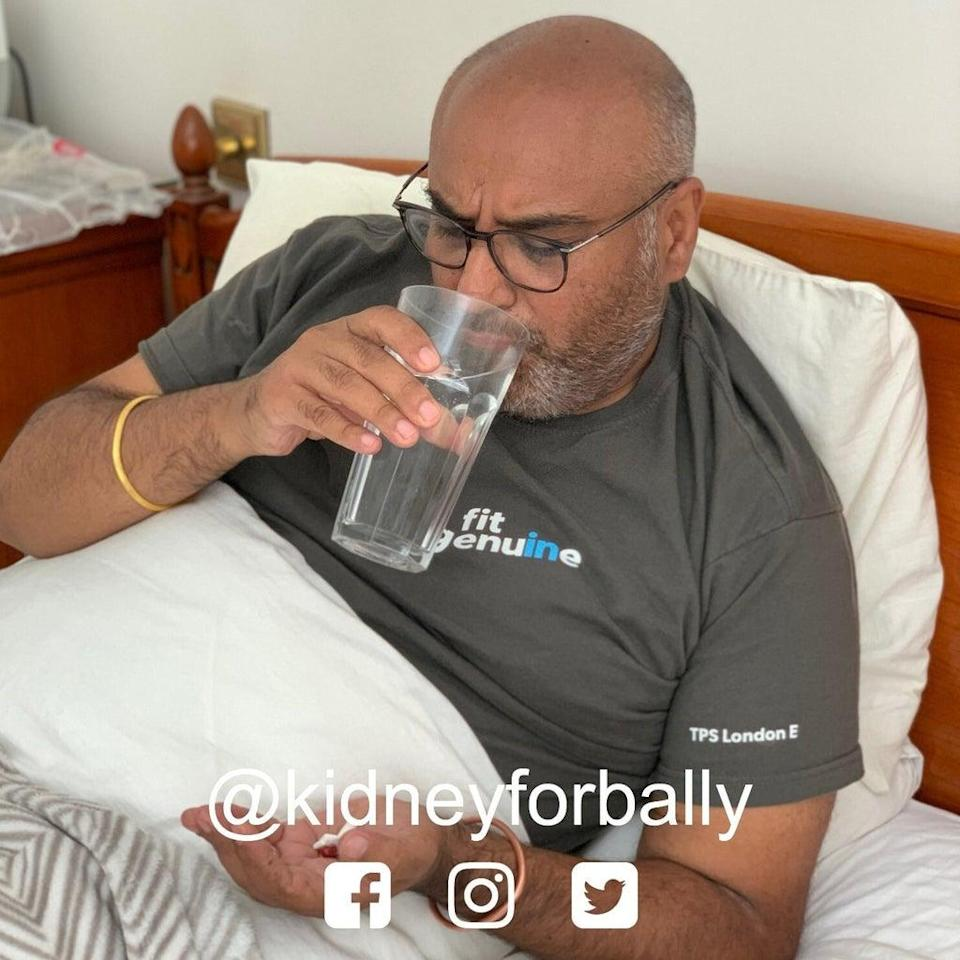 Mr Sandhu has dialysis day and night (Family handout/NHSBT/PA) (PA Media)