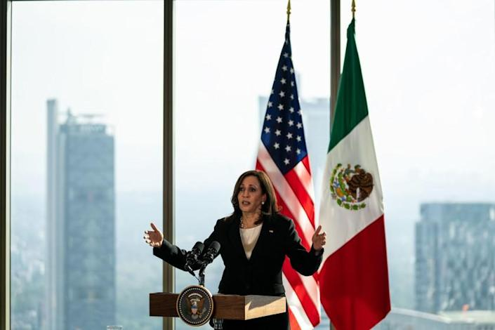 MEXICO CITY, MEXICO - JUNE 08: Vice President Kamala Harris speaks during a news conference at the on Tuesday, June 8, 2021. The Vice President is wrapping up her first international trip since taking office, visiting Guatemala and Mexico to discuss the root causes of migration from the Central American countries in what is known as the Northern Triangle - Honduras, El Salvador and Guatemala. (Kent Nishimura / Los Angeles Times)