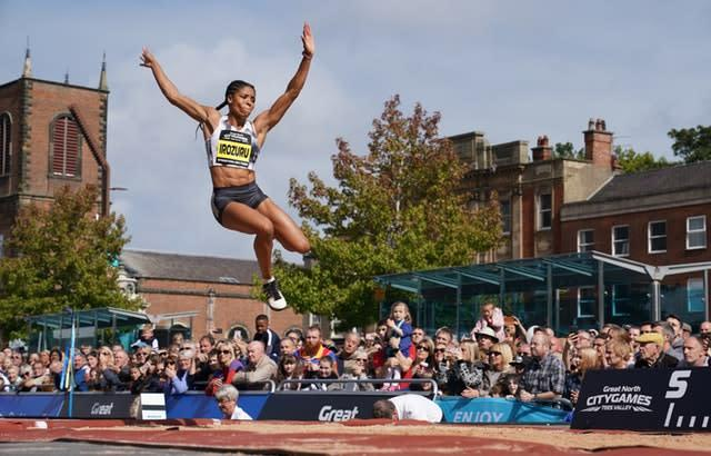 Great Britain's Abigail Irozuru competes in the long jump during the Great City Games in Stockton (Owen Humphreys/PA)