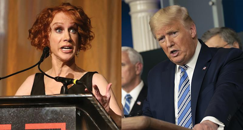 Kathy Griffin says President Trump is lying about accessibility to coronavirus tests.