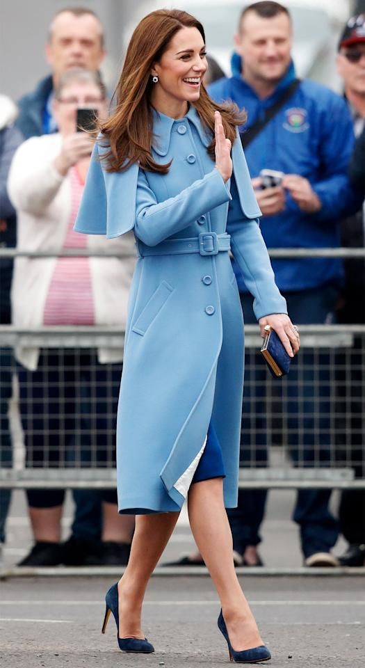 Kate wears a Mulberry coat with a cape attachment and pumps by Rupert Sanderson to a series of events on the second day of her tour of Northern Ireland.