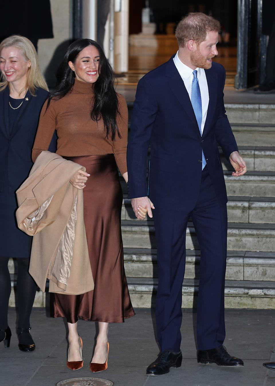 The Duke and Duchess of Sussex leaving after their visit to Canada House, central London, to meet with Canada's High Commissioner to the UK, Janice Charette, as well as staff, to thank them for the warm hospitality and support they received during their recent stay in Canada. Picture date: Tuesday January 7, 2020. Photo credit should read: Yui Mok/PA Wire PA (Photo by Yui Mok/PA Images via Getty Images)