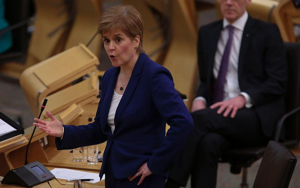 First Minister Nicola Sturgeon attends First Minister's Questions at the Scottish Parliament in Holyrood - Getty Images Europe