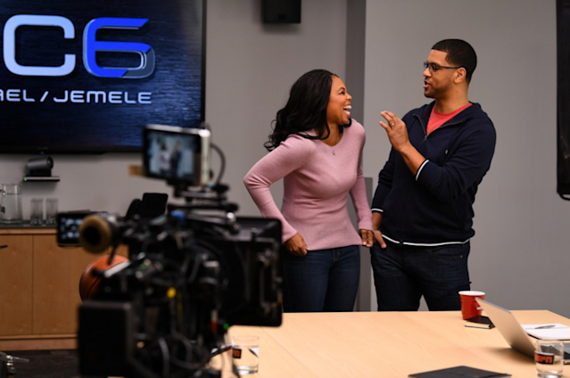 Jemele Hill (L) and Michael Smith on Feb 1, 2017. (via ESPN)