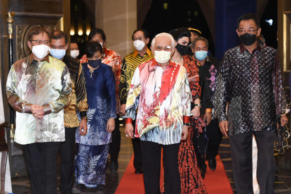 Sarawak Governor Tun Abdul Taib Mahmud (centre), accompanied by Chief Minister Datuk Patinggi Abang Johari Openg (left), arrives for the state-level National Day celebration at the Sarawak State Legislative Assembly in Kuching, August 31, 2021. — Picture courtesy of the Sarawak Information Department