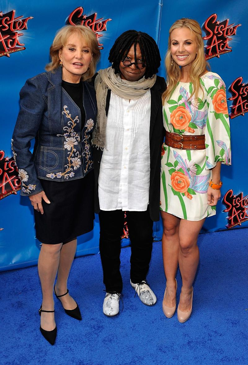 NEW YORK, NY - APRIL 20: (L-R) TV personality Barbara Walters, actress/producer Whoopi Goldberg and TV personality Elisabeth Hasselbeck attend the Broadway opening night of 'Sister Act' at the Broadway Theatre on April 20, 2011 in New York City. (Photo by Joe Corrigan/Getty Images)