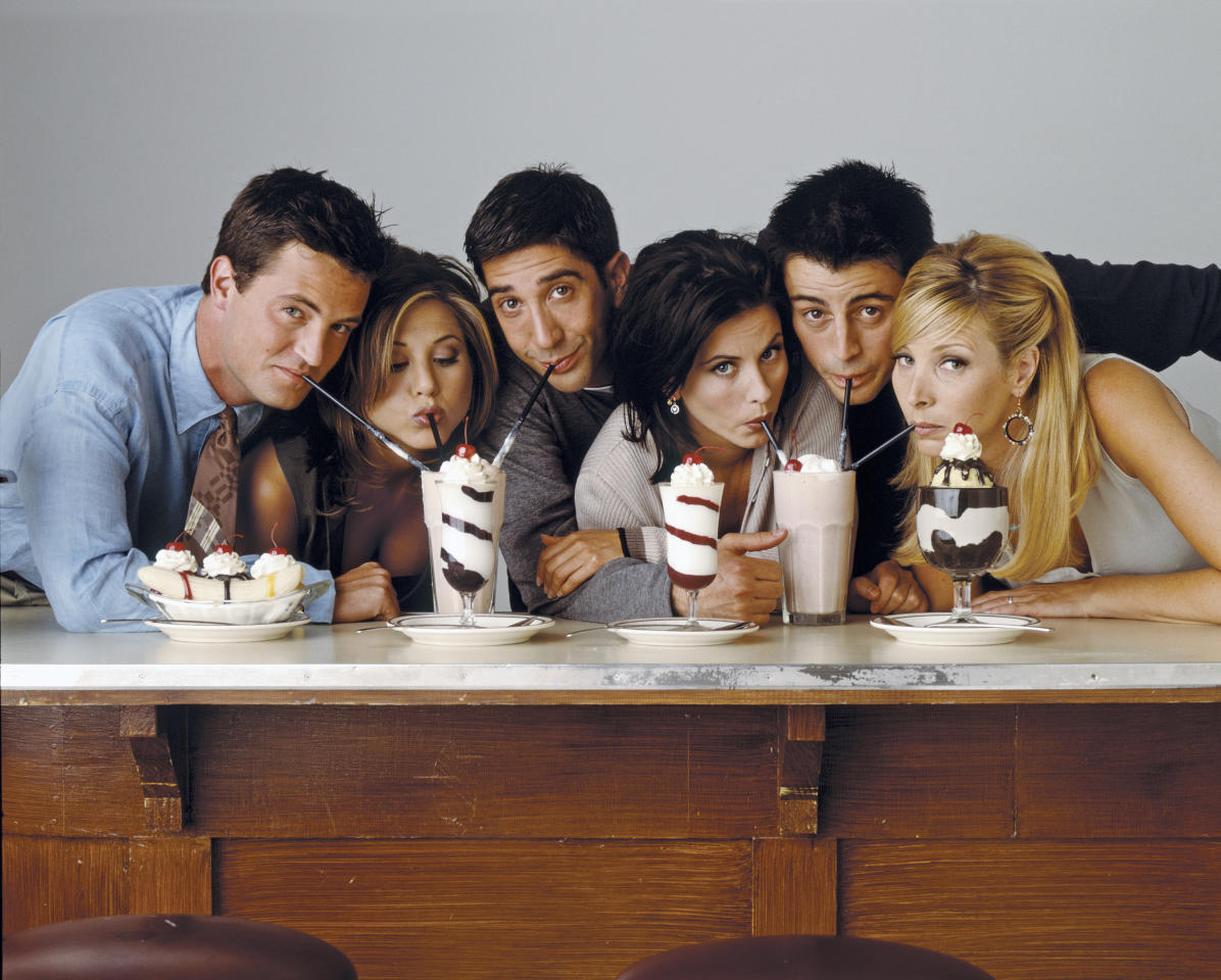 Joey might not share food but he certainly shares milkshakes. This photo, circa 1995, was one of the cast's first official shoots. Jennifer Aniston is even sporting her iconic haircut. (Getty Images)
