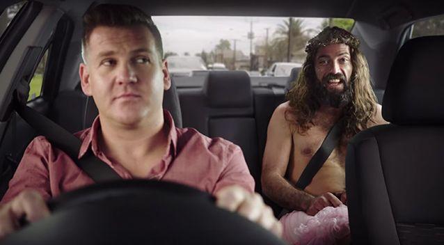The ad campaign prominently features a bearded man in a pink tutu declaring there is