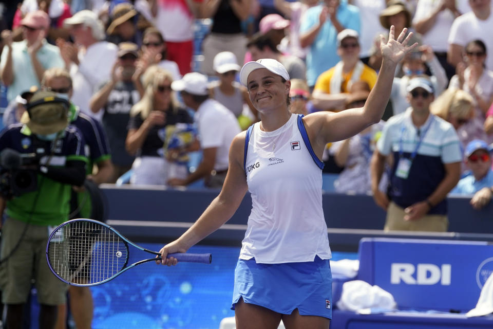 Ashleigh Barty, of Australia, reacts after defeating Jil Teichmann, of Switzerland, in the women's single final of the Western & Southern Open tennis tournament, Sunday, Aug. 22, 2021, in Mason, Ohio. (AP Photo/Darron Cummings)