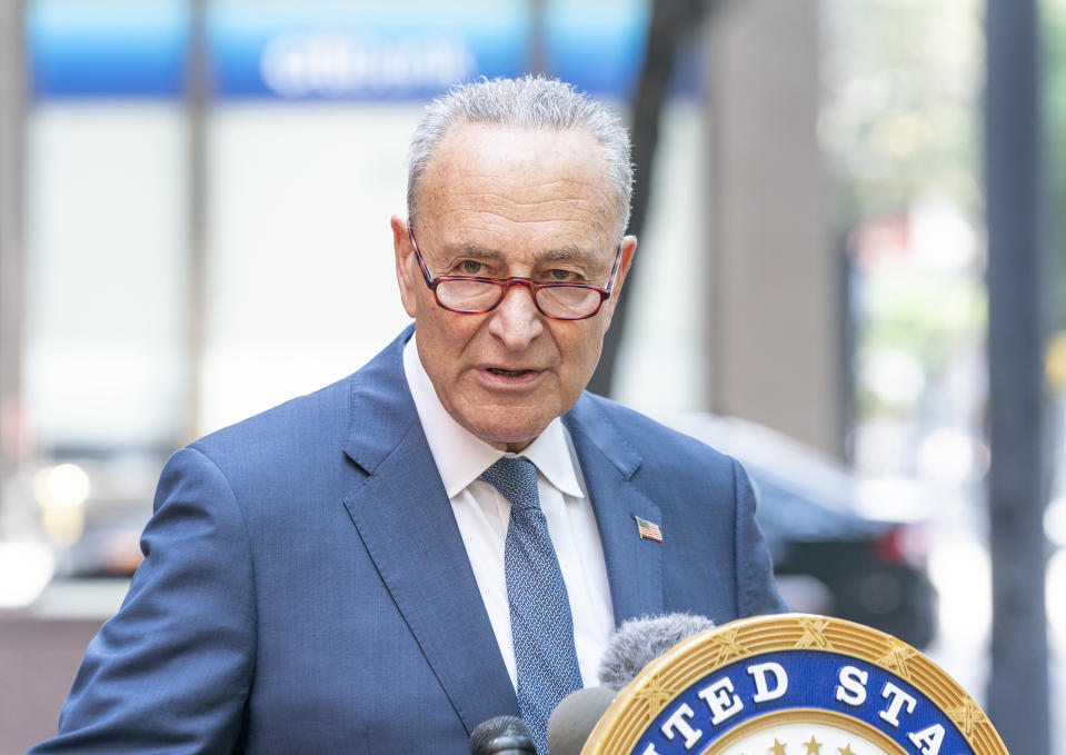NEW YORK, UNITED STATES - 2020/08/09: U.S. Senator Chuck Schumer updates media on President Donald Trump's executive orders and the aftermath of storm Isaias outside his office in Manhattan. Schumer said President Trumps actions totally leave out money for state and local governments. Schumer also warned, the actions taken by the orders would jeopardize social security and medicare. Senator called on President and GOP to meet democrats in the middle and come up with agreement that will actually help Americans. (Photo by Lev Radin/Pacific Press/LightRocket via Getty Images)