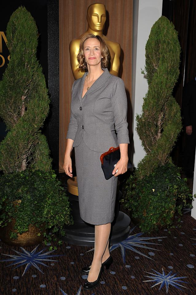 "Janet McTeer -- who stars alongside Glenn Close in ""Albert Nobbs"" -- looked a bit matronly in her conservative gray suit."