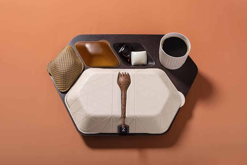 A high-concept airline meal tray, made entirely from repurposed biodegradables, conceived by PriestmanGoode.