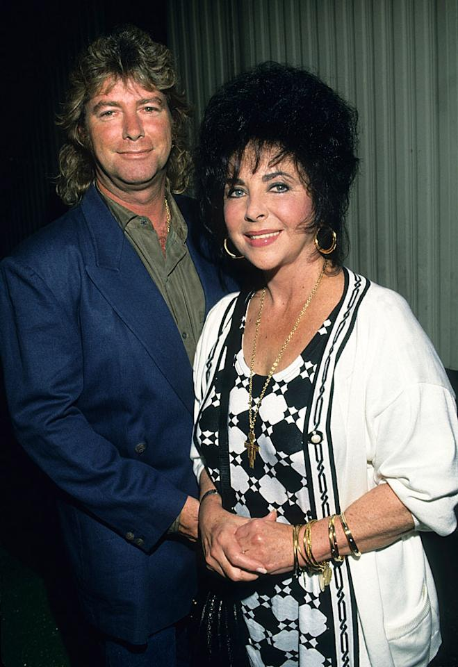 Elizabeth Taylor met her eighth and final husband, construction worker Larry Fortensky, in 1988 when the two were both in treatment at Betty Ford. Their vices? Pills for her; beer for him. Although he lived with the screen legend in her Beverly Hills mansion, the 20-years-younger Fortensky insisted on keeping his day job. But after Taylor made him quit in order to travel with her, the marriage went south, and in 1996 she filed for divorce. Still, the two remained close and she sent him $1,000 a month until her 2011 death. Taylor even left Fortensky $1 million in her will.
