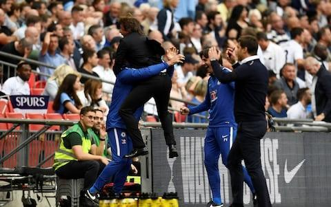 <span>Antonio Conte celebrates Marcos Alonso's late winner</span> <span>Credit: Reuters </span>
