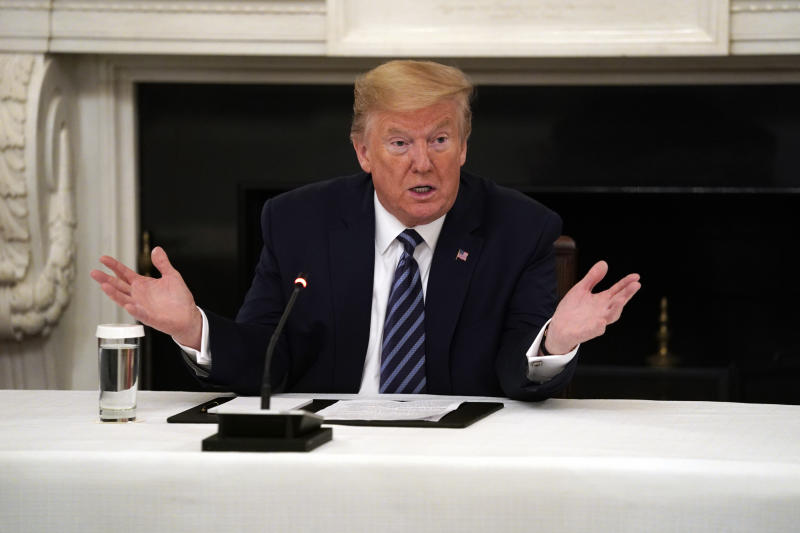 President Donald Trump speaks during a meeting with Republican lawmakers, in the State Dining Room of the White House, Friday, May 8, 2020, in Washington. (AP Photo/Evan Vucci)