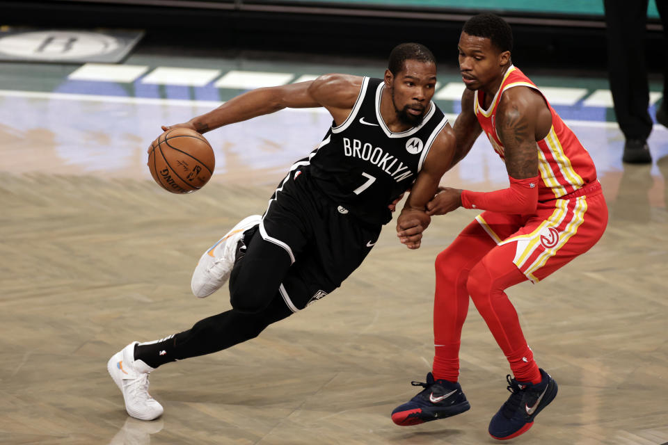 Brooklyn Nets forward Kevin Durant (7) in action during an NBA basketball game against the Atlanta Hawks, Friday, Jan. 1, 2021, in New York. The Hawks won 114-96. (AP Photo/Adam Hunger)