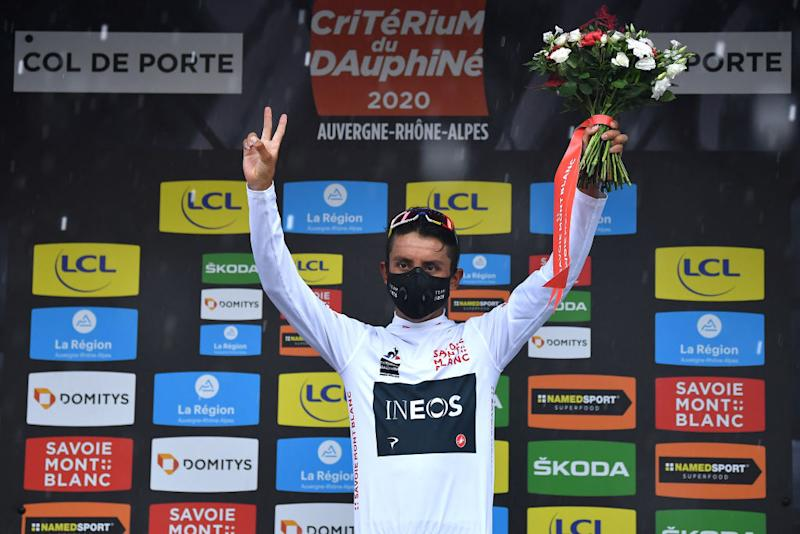 CHARTREUSE FRANCE AUGUST 13 Podium Egan Arley Bernal Gomez of Colombia and Team Ineos White Best Young Jersey Celebration during the 72nd Criterium du Dauphine 2020 Stage 2 a 135km stage from Vienne to Col de PorteChartreuse 1316m dauphine Dauphin on August 13 2020 in Chartreuse France Photo by Justin SetterfieldGetty Images