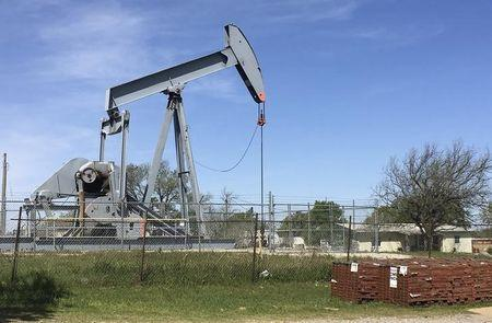 An oil pumpjack is seen in Velma, Oklahoma