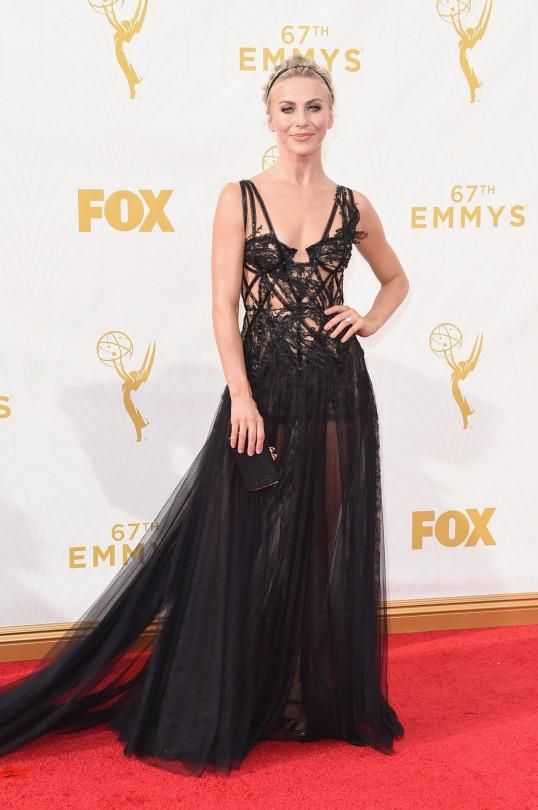 """<p>It's the mark of a privileged fashionista to be able to pull off the runway. At the Emmys, Julianne Hough earned her credentials wearing a Marchesa gown that walked only days ago in New York. The collection was inspired by birds and the caged dress on the """"Dancing With the Stars"""" host was edgy and beautiful simultaneously. </p>"""