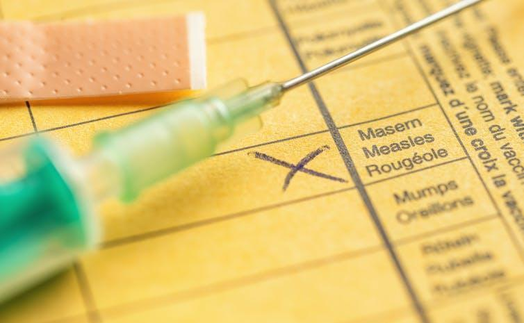 A vaccination certificate for measles