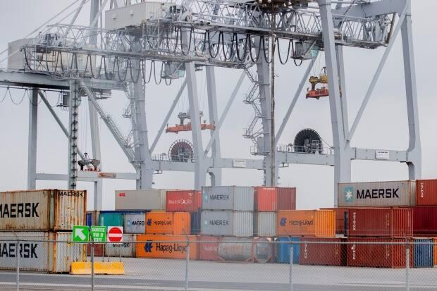 The Port of Montreal says there are close to 20,000 shipping containers on its territory because of this week's strike.  (Graham Hughes/The Canadian Press - image credit)