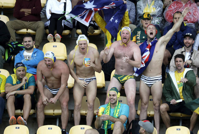 <p>Australia fans show support to their team during men's water polo preliminary round match against Japan at the 2016 Summer Olympics in Rio de Janeiro, Brazil, Wednesday, Aug. 10, 2016. (AP Photo/Eduardo Verdugo) </p>