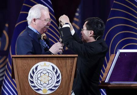 Asgardia's Head of Nation Igor Ashurbeyli and Yun Zhao attend the inauguration ceremony of Asgardia's first Head of Nation in Vienna, Austria June 25, 2018. REUTERS/Lisi Niesner