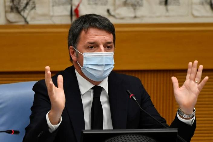 Matteo Renzi holds a news conference in Rome