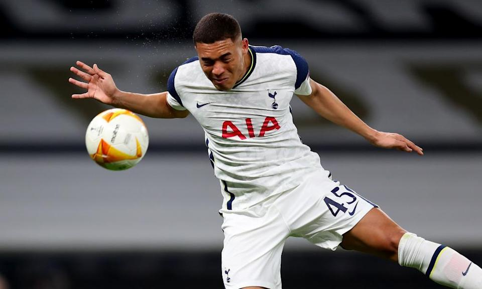 Carlos Vinicius, with his eyes closed, scores Tottenham's second goal with a header in the 4-0 win over Wolfsberger.