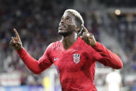 U.S. forward Gyasi Zardes celebrates his goal against Canada during the second half of a CONCACAF Nations League soccer match Friday, Nov. 15, 2019, in Orlando, Fla. (AP Photo/John Raoux)