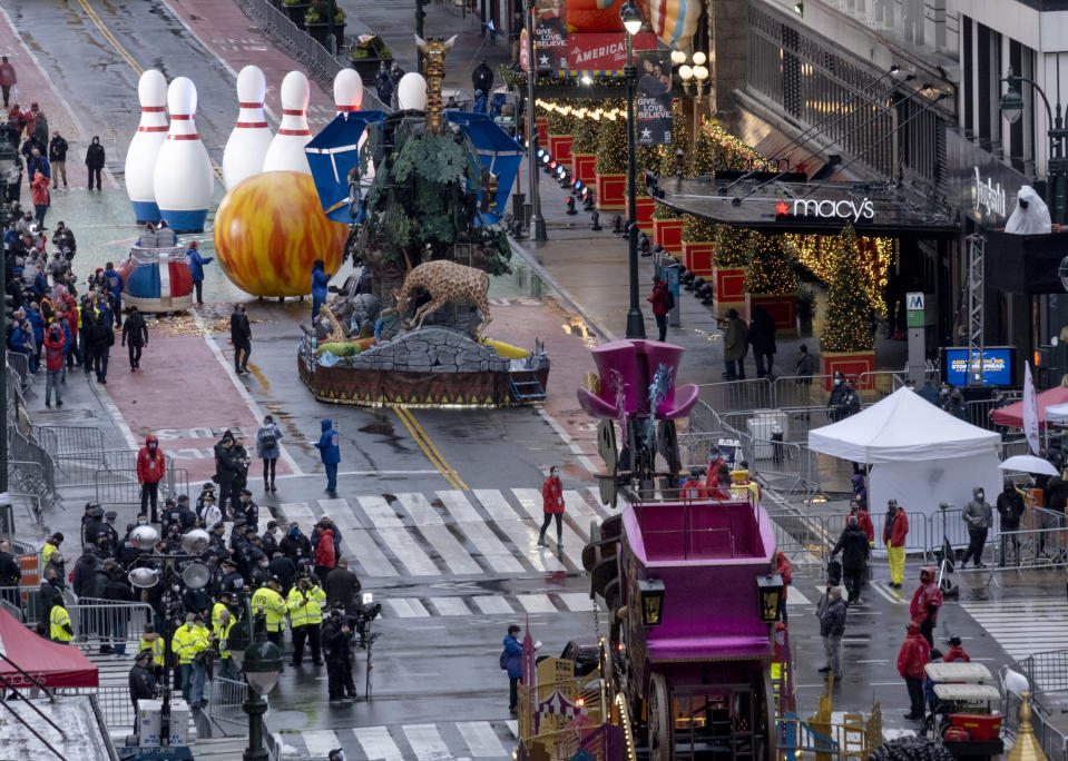 Floats that are part of the modified Macy's Thanksgiving Day Parade are seen from the Empire State Building in New York, Thursday, Nov. 26, 2020. Due to the pandemic, crowds of onlookers were not allowed to attend the annual parade. (AP Photo/Craig Ruttle)