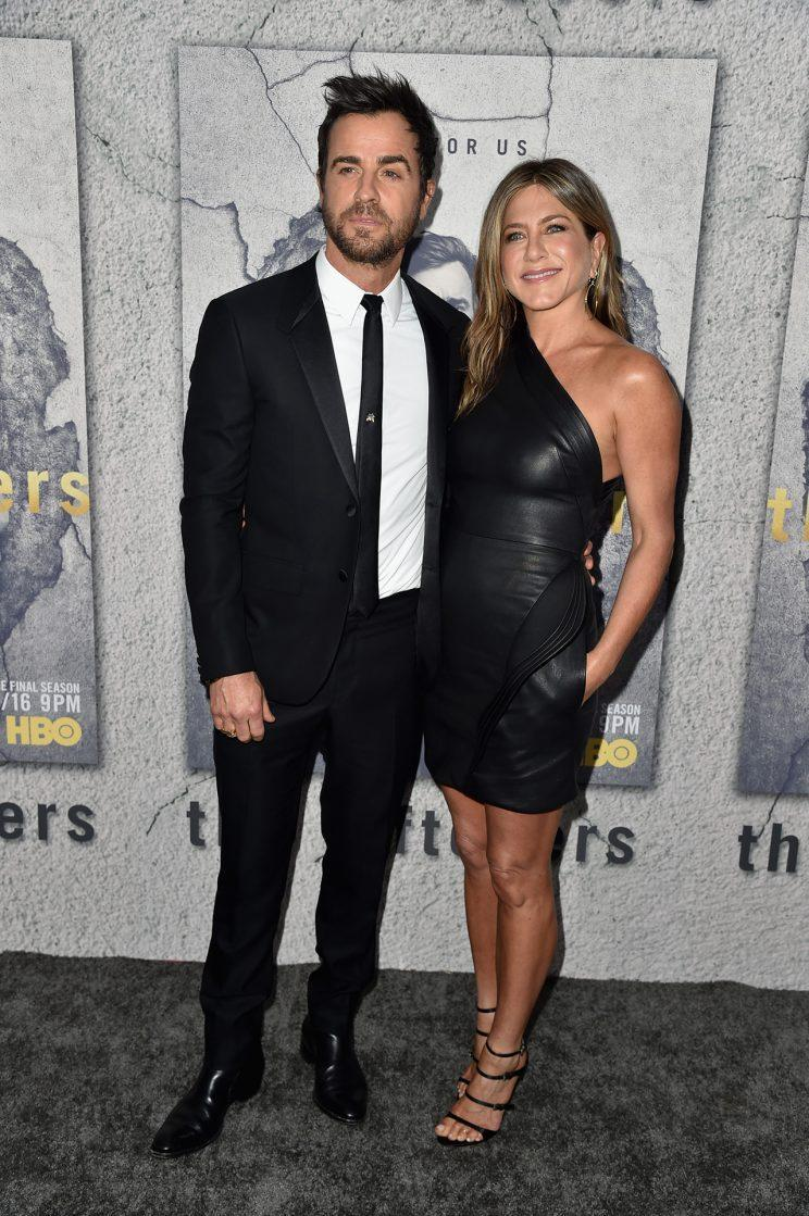 <i>Jennifer Aniston wore a full leather look at The Leftovers premiere [Photo: Getty]</i>