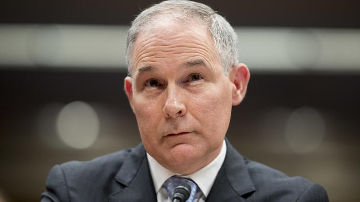Then-Environmental Protection Agency Administrator Scott Pruitt appears on Capitol Hill in Washington in 2018.(Andrew Harnik/AP)