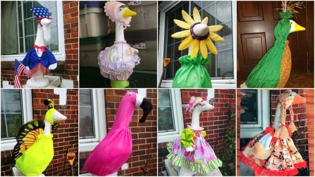 Jewel Sherman says she's made too many geese outfits to count. She doesn't know exactly where the trend started, but enjoys getting creative and selling the clothing to others.  (Submitted by Jewel Sherman - image credit)