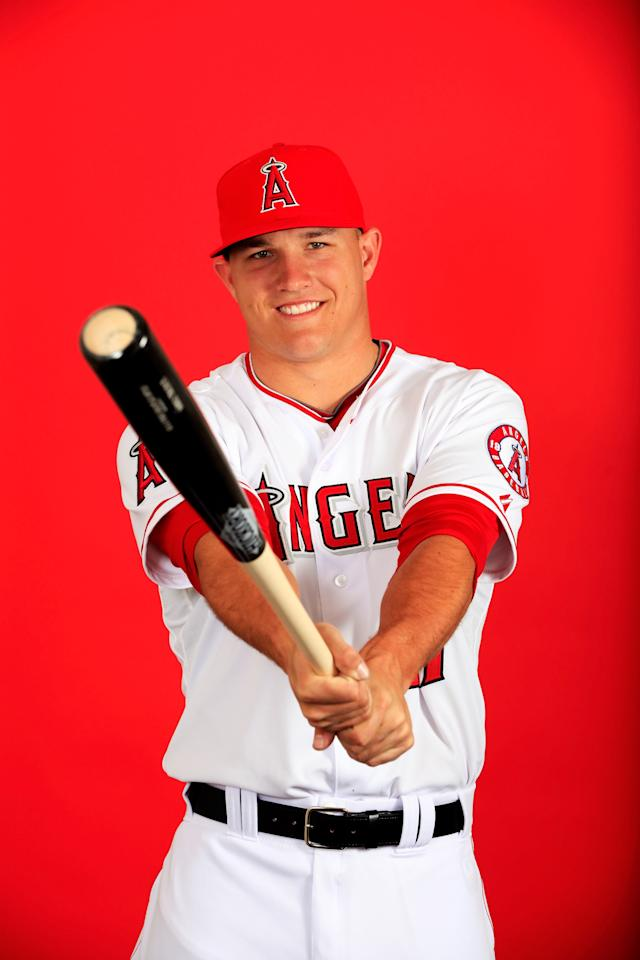 TEMPE, AZ - FEBRUARY 26: Mike Trout #27 poses during Los Angeles Angels photo day on February 26, 2014 in Tempe, Arizona. (Photo by Jamie Squire/Getty Images)