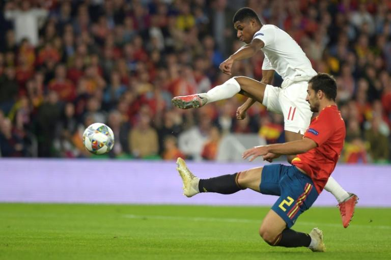 England's Marcus Rashford gave Jonny and the other Spanish defenders a difficult time