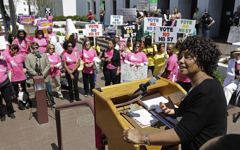 Sen. Linda Coleman, D-Birmingham, addresses those who gathered for a Pro Choice rally at the Alabama Statehouse in Montgomery, Ala., Tuesday, April 2, 2013. Many were seeking the defeat of House Bill 57 which places severe restrictions on abortions for women. (AP Photo/Dave Martin)
