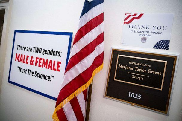PHOTO: A sign hangs on the wall outside the office of Rep. Marjorie Taylor Greene in the Longworth House Office Building on Capitol Hill, Feb. 25, 2021, in Washington, D.C. (Al Drago/Getty Images)
