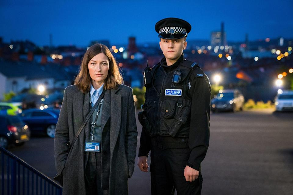 Gregory with co-star Kelly Macdonald, who plays DCI Jo Davidson (Photo: BBC/World Productions/Steffan Hill)