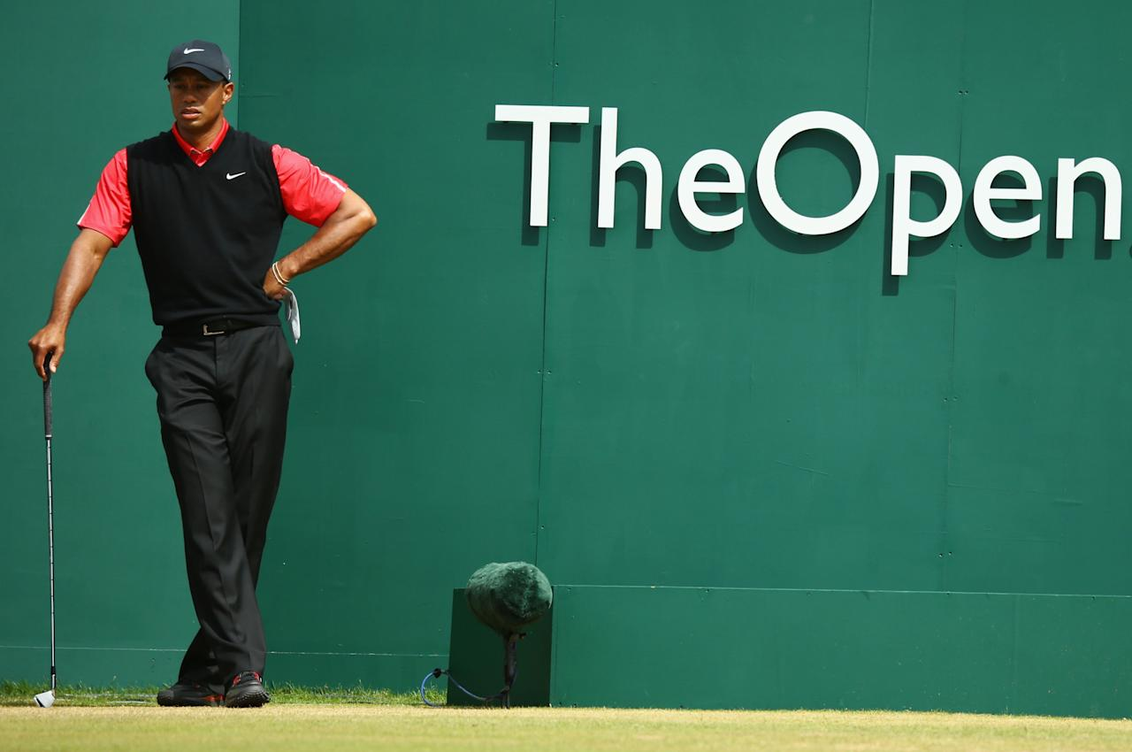 GULLANE, SCOTLAND - JULY 21: Tiger Woods of the United States looks on from the 1st tee during the final round of the 142nd Open Championship at Muirfield on July 21, 2013 in Gullane, Scotland. (Photo by Matthew Lewis/Getty Images)